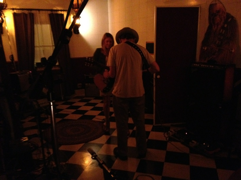 Liz Phair and Paul Cutler jamming at Pax-Am Studio
